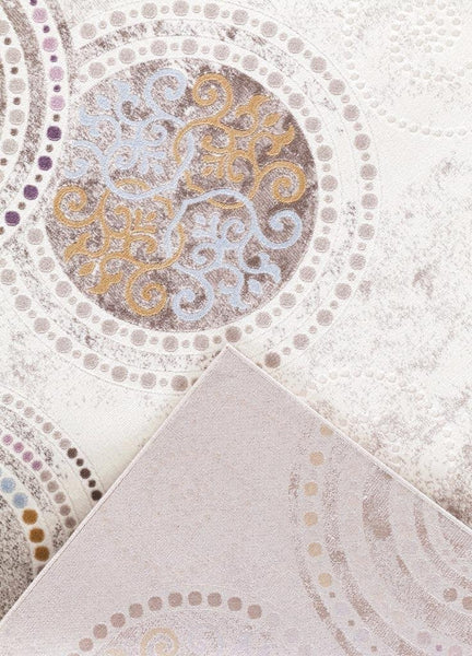 Beige Gold Purple Medallion Transitional Area Rugs