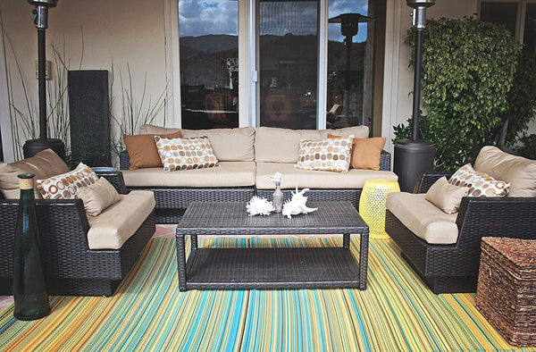 7100 Green 100% Recycled Outdoor Area Rugs