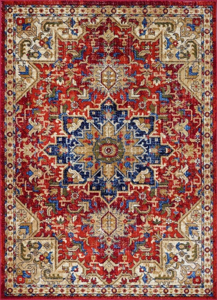 2211 Red Medallion Distressed Oriental Area Rugs