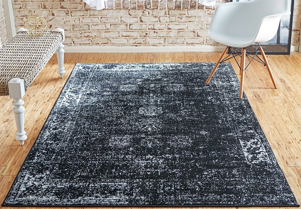 5101 Black Distressed Vintage Oriental Area Rugs