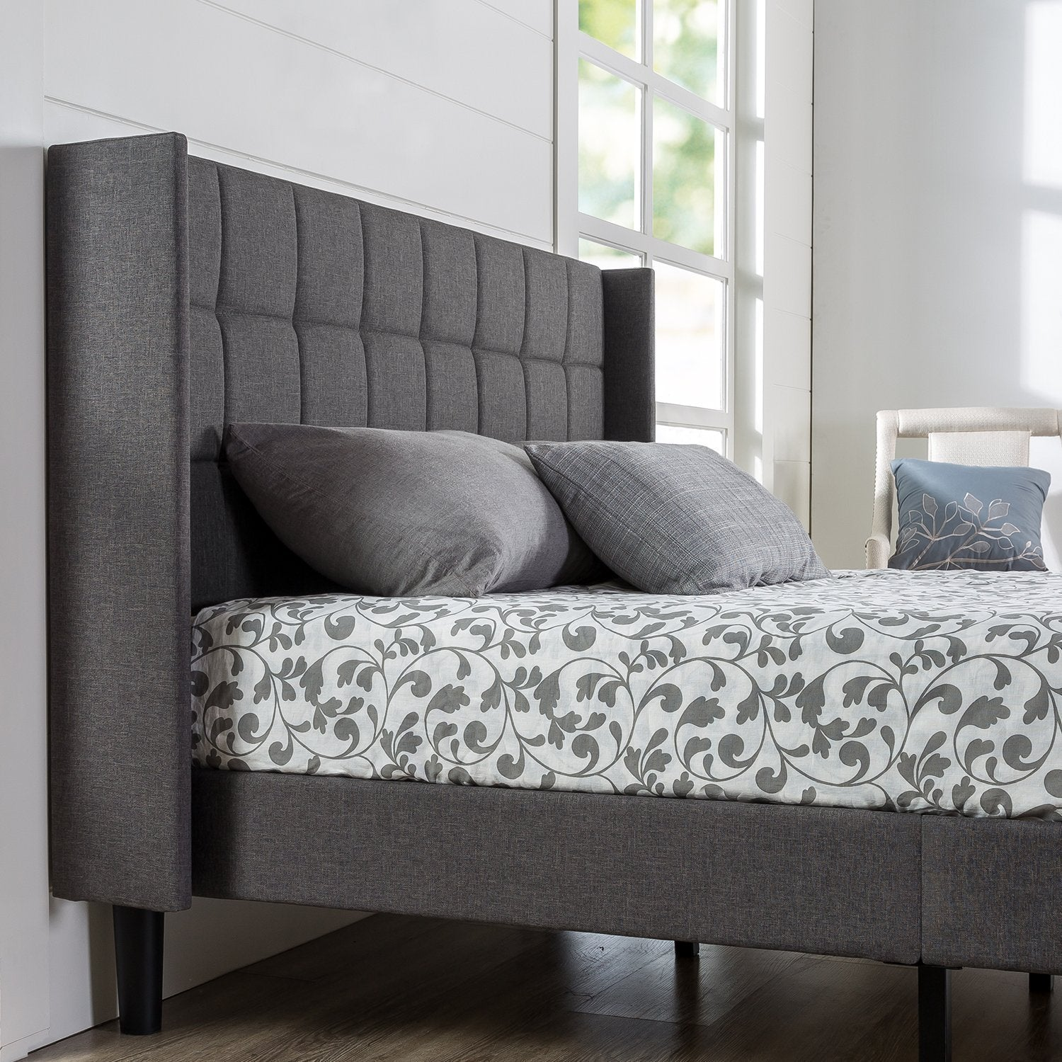 New Century Charcoal Gray Square Style Contemporary Headboard Platform Bed