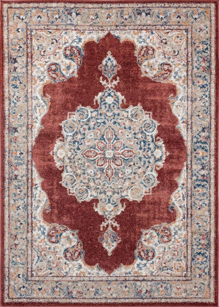 2219 Rust Persian Medallion Distressed Area Rugs