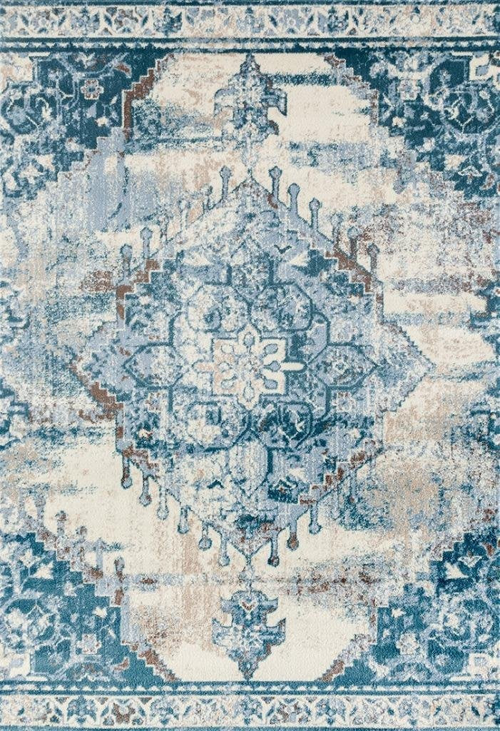 Ivory Blue Distressed Persian Oriental Rug Discount Area Rugs
