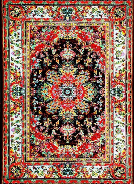 Black Red Colorful Oriental Isfahan Persian Area Rugs