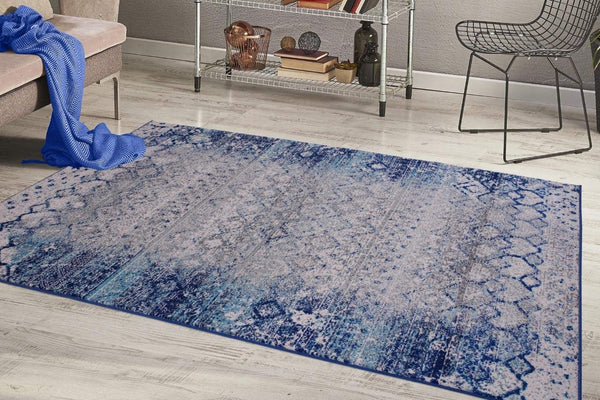 2214 Blue Distressed Moroccan Oriental Area Rugs