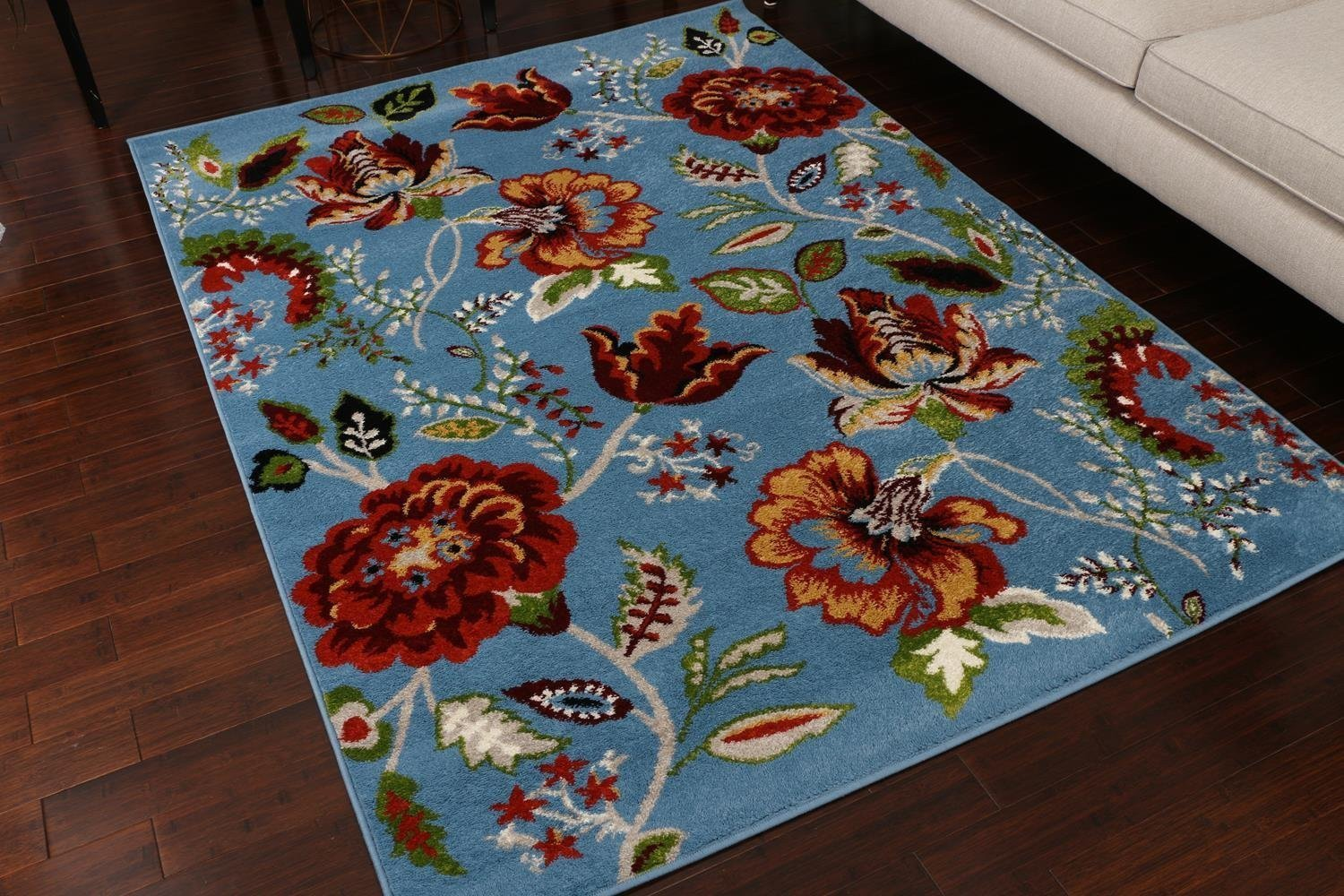 Blue Colorful Floral Design Discount Clearance Area Rugs