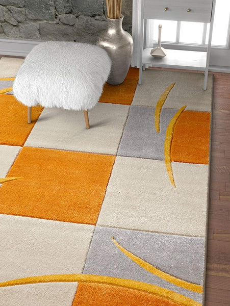 7023 Orange Hand Carved Contemporary Area Rugs