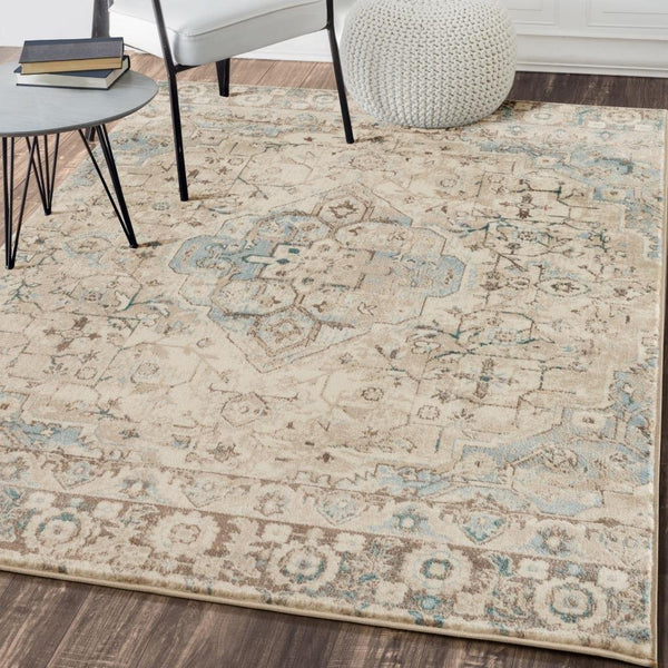 6547 Ivory Blue Distressed Persian Oriental Area Rugs