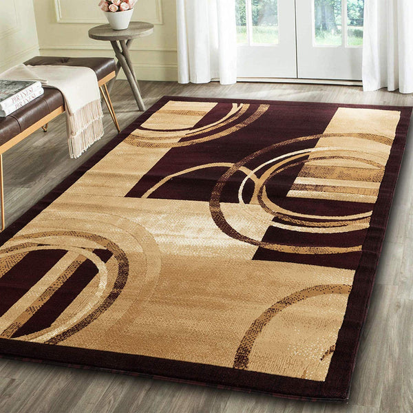 2102 Beige Brown Geometric Contemporary Area Rugs