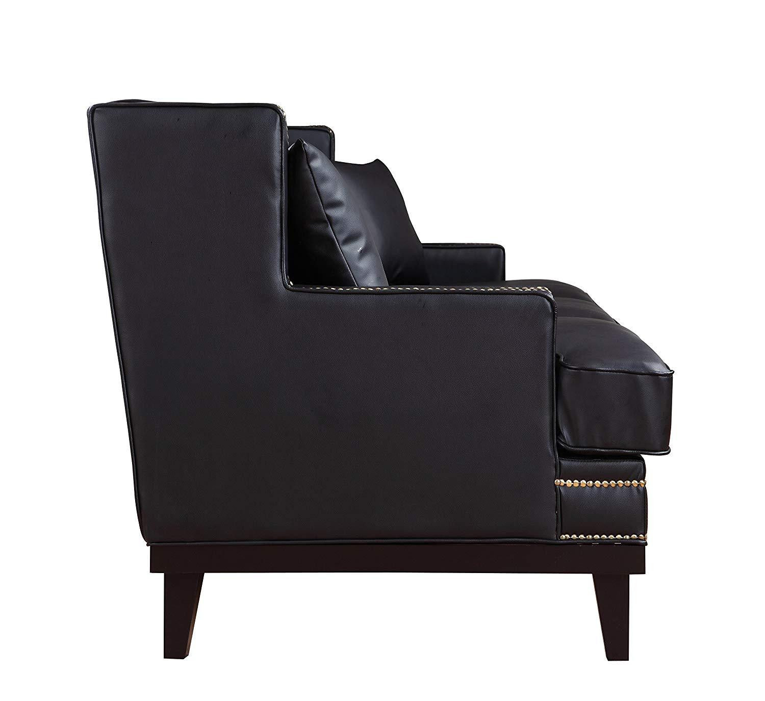 New Century® Black Modern Faux Leather Sofa With Nailhead Trim