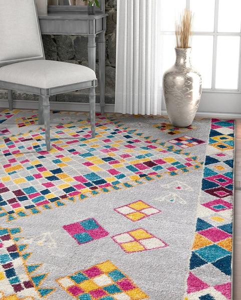 2971 Gray Multi Diamond Lattice Moroccan Modern Area Rugs