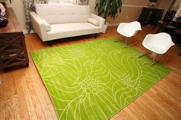 Modern Trendz Lime Green Gislev Contemporary Rugs