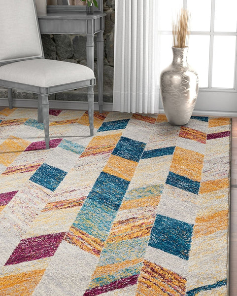2966 Blue Multi Geometric Contemporary Area Rugs