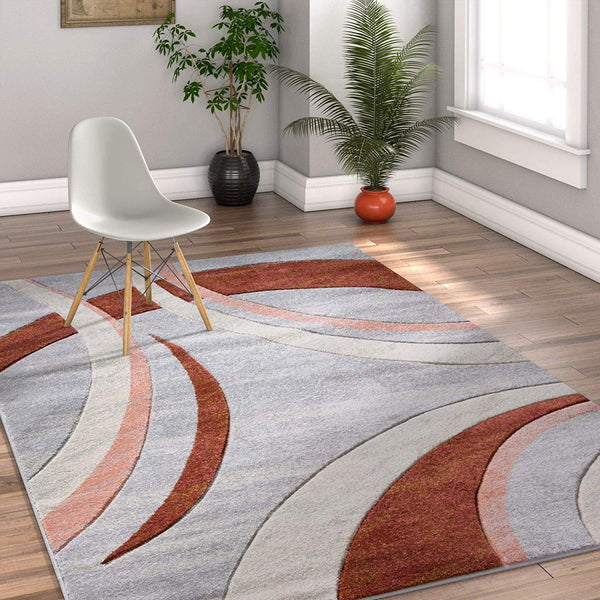 7061 Pink Gray Hand Carved Geometric Contemporary Area Rugs
