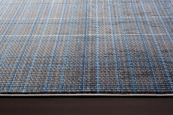 Gray Blue Geometric Contemporary Area Rugs