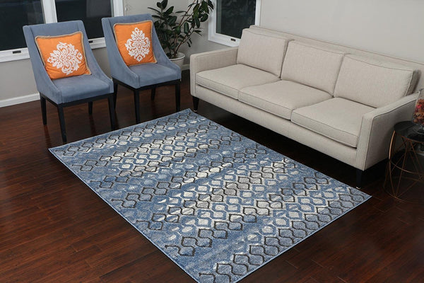 5605 Blue Carved Contemporary Area Rugs