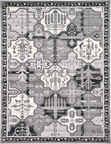 9320 Gray Panels Oriental Area Rugs