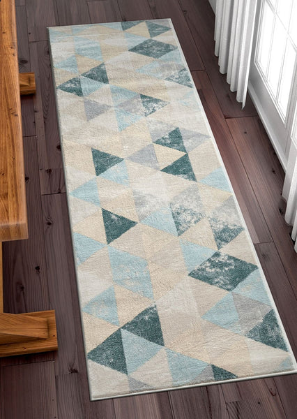 2957 light Blue Isometric Distressed Contemporary Area Rugs