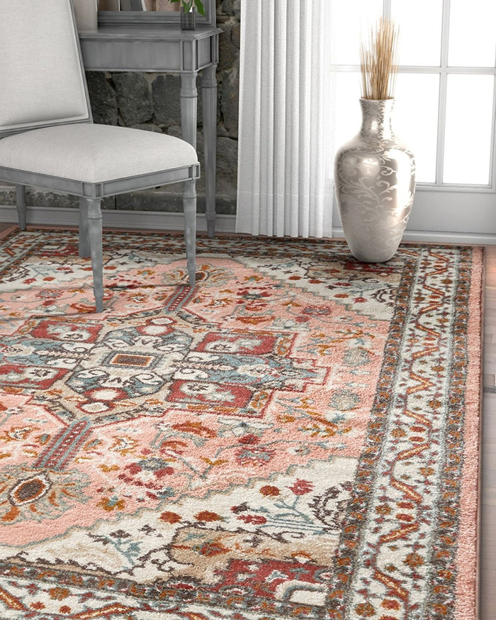 2929 Pink Vintage Medallion Persian Area Rugs