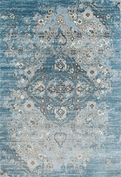 Distressed Blue Floral Oriental Traditional Area Rugs
