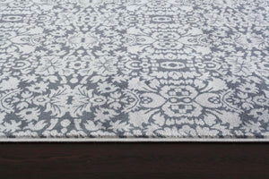 Gray Damask Transitional Area Rugs