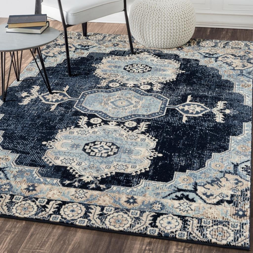 Royalty Navy Blue Distressed Persian Oriental Rug Area Rugs Cheap