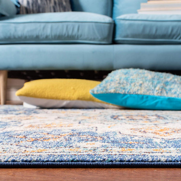 0114 Blue Medallion Vintage Distressed Oriental Area Rugs