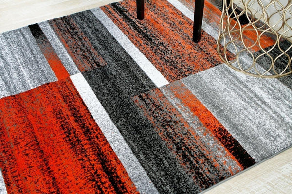 Terracotta Black Modern Abstract Contemporary Area Rugs