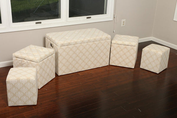 New Century® 5 Pieces Cloth Damask Design Storage Ottoman, Beige