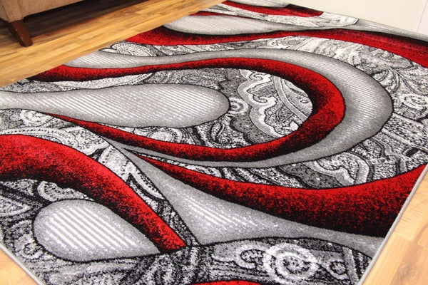 Modern Trendz Red Abstract Contemporary Area Rugs