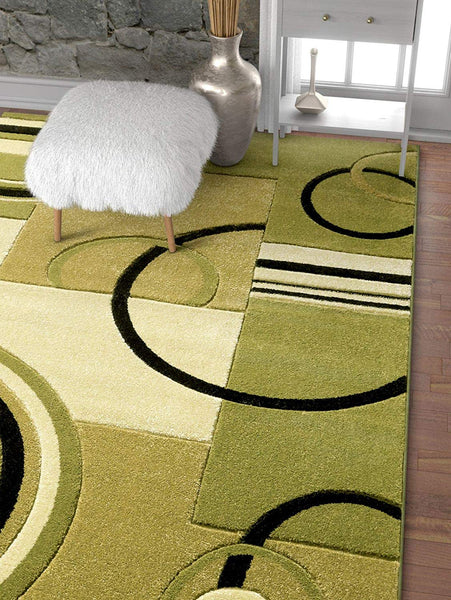 6096 Green Geometric Hand Carved Contemporary Area Rugs