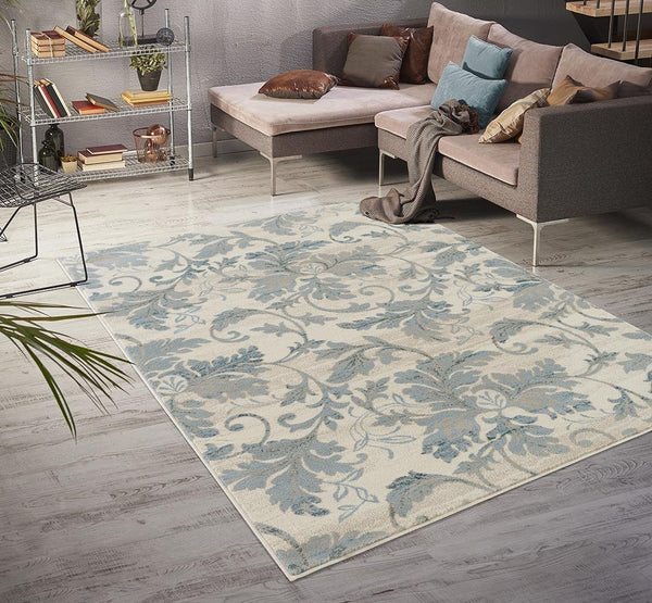 4948 Ivory Floral Contemporary Area Rugs