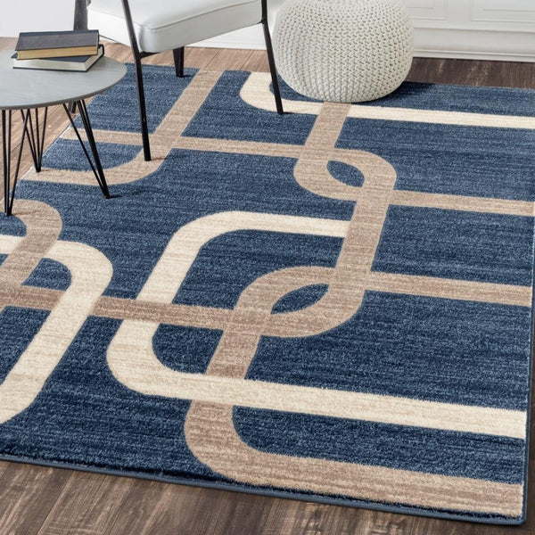 1042 Blue Beige Modern Contemporary Area Rugs