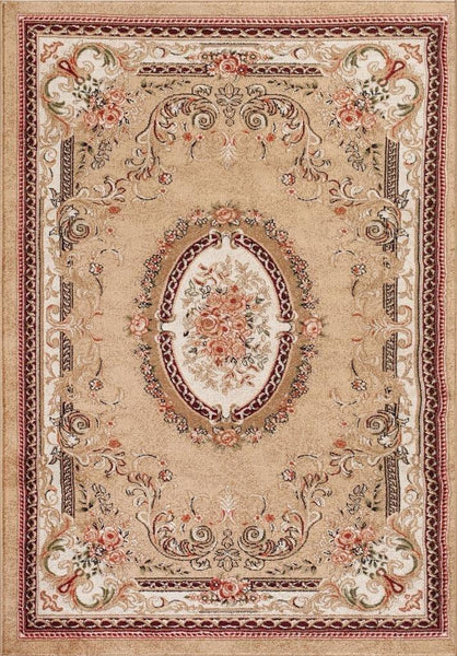 Beige French Aubusson Medallion Traditional Area Rugs