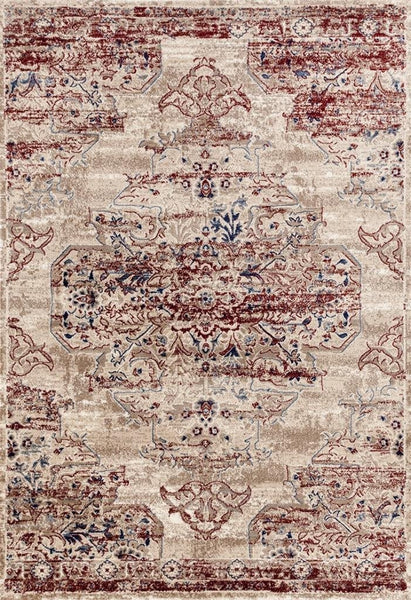 2046 Ivory-Burgundy Distressed Oriental Area Rugs