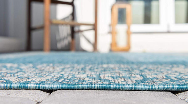 7184 Light Aqua Outdoor-Indoor Oriental Area Rugs