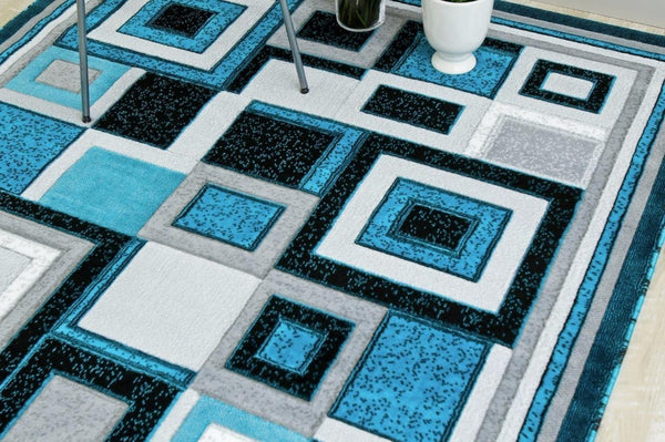 Turquoise Square Contemporary Area Rugs