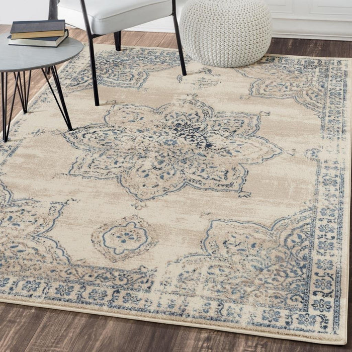 5394 Ivory Distressed Oriental Area Rugs