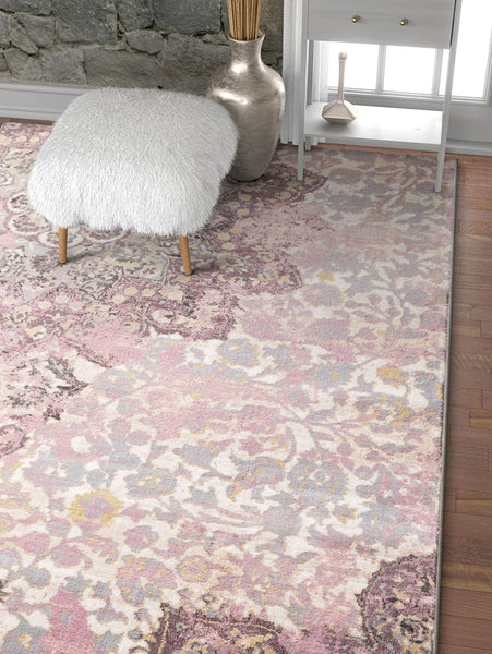 2924 Lavender Purple Distressed Oriental Area Rugs