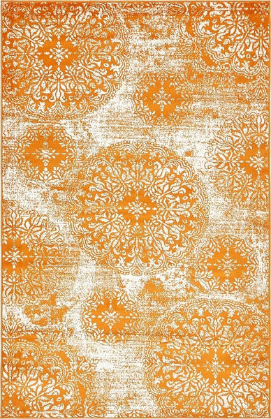 5098 Orange Distressed Oriental Area Rugs