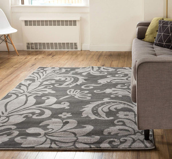 3953 Gray Damask Oriental Area Rugs