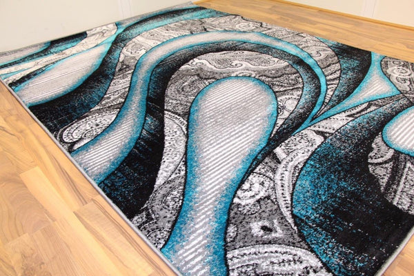 Modern Trendz Turquoise Abstract Contemporary Area Rugs