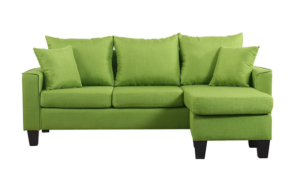 New Century®Green Linen Fabric Sectional Sofa With Adjustable Chaise