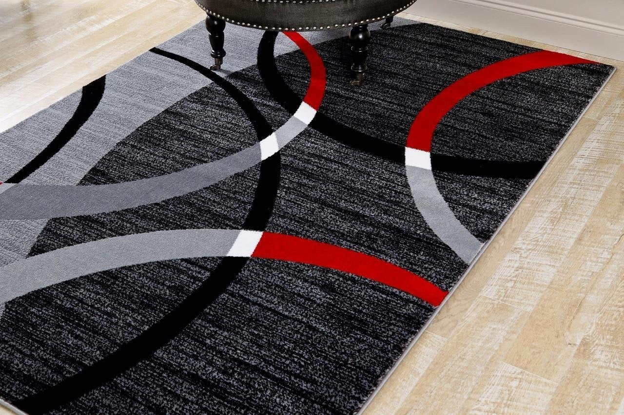 Beverly Hills Gray Abstract Contemporary Rug Discount Area Rugs