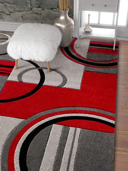 6105 Gray Red Hand Carved Contemporary Area Rugs