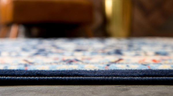 5103 Navy Blue Floral Oriental Area Rugs