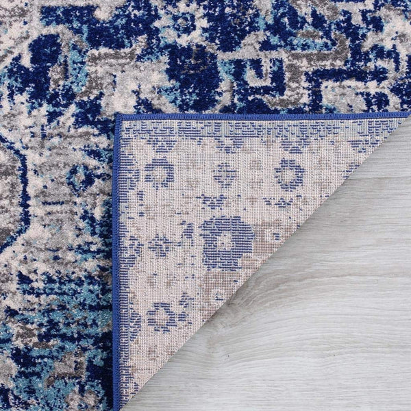 2211 Navy Blue Medallion Distressed Oriental Area Rugs