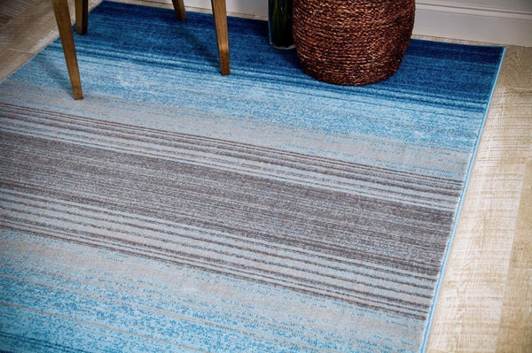 0621 Blue Contemporary Area Rugs