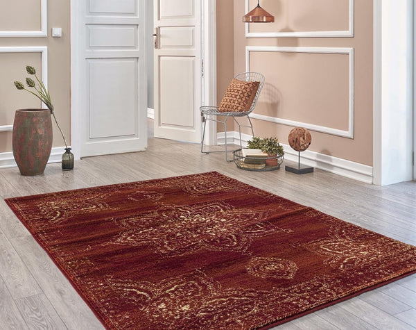 5394 Burgundy Distressed Oriental Area Rugs