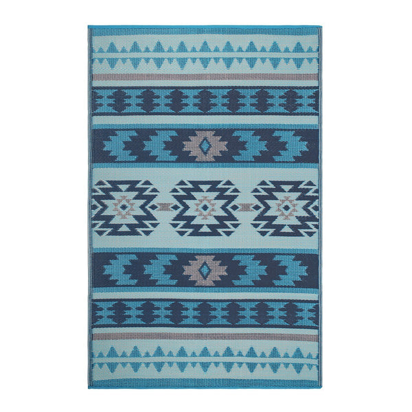 7126 Blue South Western Reversible Outdoor/Indoor Area Rugs